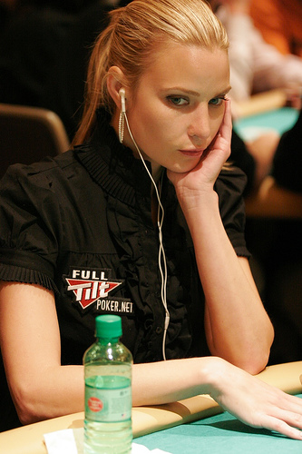 Erica Schoenberg (poker babe) playing in a poker tournament